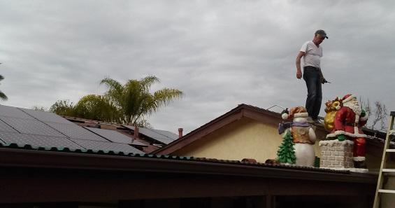 Solar Panels Power Christmas Lights